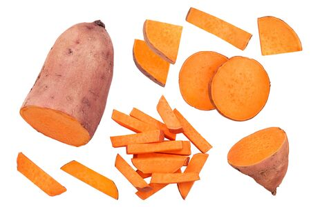 Sweet potato isolated on white background closeup. Top view. Flat lay.