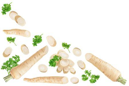 Parsley root with slices and leaves isolated on white background with copy space for your text. Top view. Flat lay