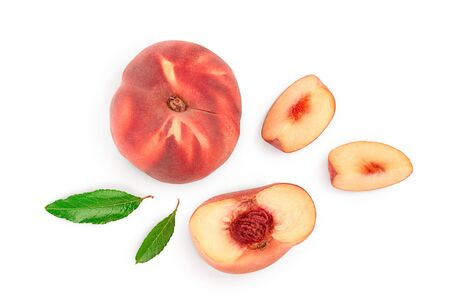 Ripe chinese flat peach fruit and half with leaf isolated on white background. Top view. Flat lay Imagens