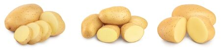 Young potato isolated on white background. Harvest new. Set or collection