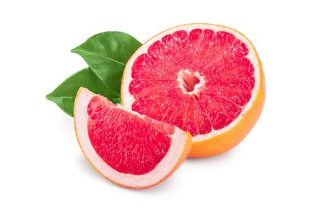 Grapefruit slice with leaves isolated on white background