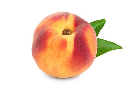 Ripe peach fruit with leaf isolated on white background