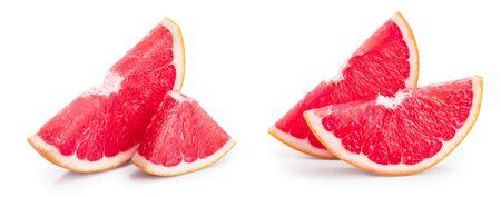 Grapefruit slice isolated on white background close up. Imagens