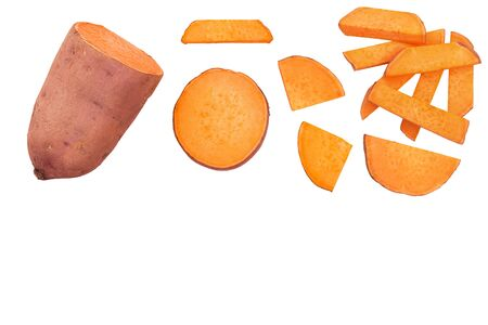 Sweet potato isolated on white background with copy space for your text. Top view. Flat lay. Imagens
