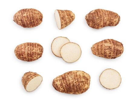 fresh taro root isolated on white background. Top view. Flat lay. Set or collection Imagens