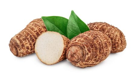 fresh taro root with half and leaf isolated on white background Imagens