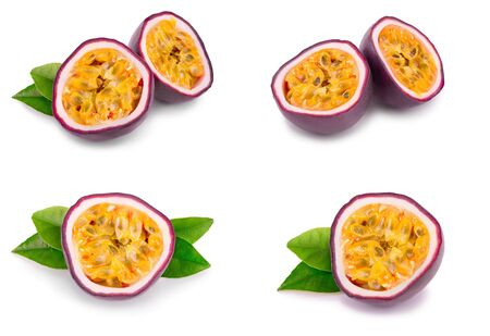 Set or collection whole passion fruits and a half with leaves isolated on white background. Isolated maracuya