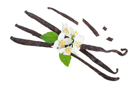 Vanilla sticks with flower and leaf isolated on white background. Top view. Flat lay Banque d'images - 132219800