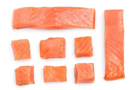 Slice of red fish salmon isolated on white background. Top view. Flat lay.