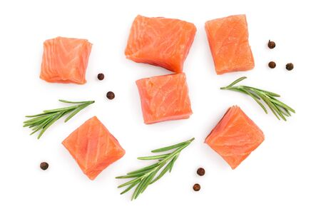 Slice of red fish salmon with rosemary isolated on white background. Top view. Flat lay.