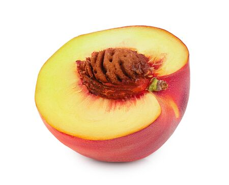 Ripe peach fruit half isolated on white background. Reklamní fotografie