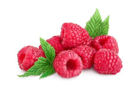 Ripe raspberries with leaf isolated on a white background. Stock fotó