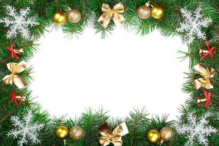Christmas frame decorated with bows and balls isolated on white background with copy space for your text. Top view.