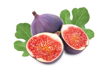 Fresh fig fruit and half with leaves isolated on white background.