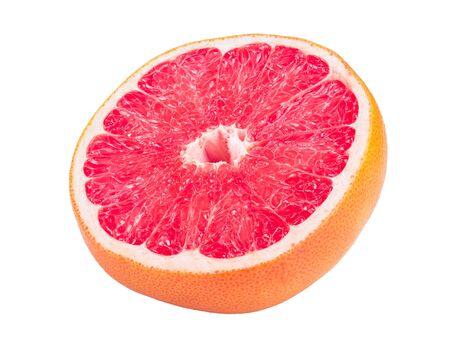 Grapefruit half isolated on white background close up.