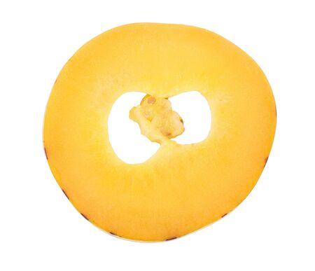 Fresh Pepino fruit slice isolated on white background