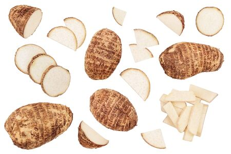 fresh taro root isolated on white background. Top view. Flat lay. Set or collection.