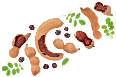 Tamarind fruit with leaf and seed isolated on white background, Top view. Flat lay 版權商用圖片