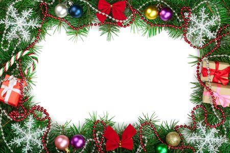 Christmas frame decorated isolated on white background with copy space for your text. Top view. 版權商用圖片