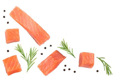 Slice of red fish salmon with rosemary peppercorns isolated on white background with copy space for your text. Top view.