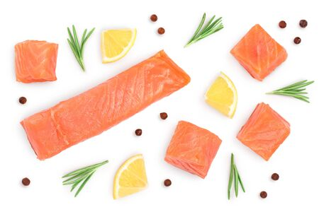 Slice of red fish salmon with rosemary and lemon isolated on white background. Top view. Flat lay.