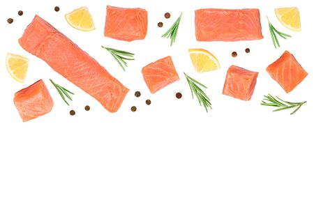 Slice of red fish salmon with lemon, rosemary isolated on white background with copy space for your text. Top view.