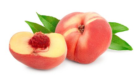 Ripe chinese flat peach fruit and half with leaf isolated on white background.