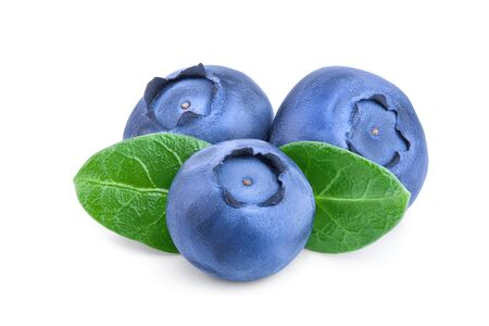 fresh blueberry with leaves isolated on white background closeup.