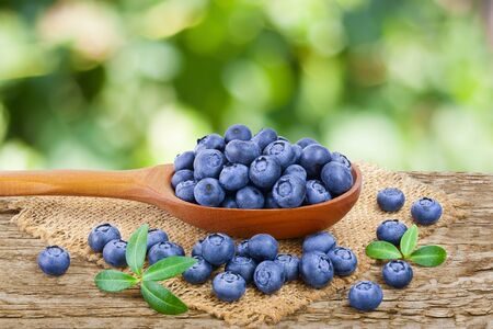 fresh ripe blueberry in wooden spoon on the old rustic table with blurred garden background