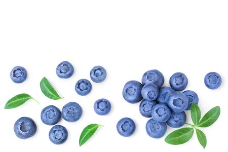 fresh ripe blueberry with leaf isolated on white background with copy space for your text. Top view. Flat lay pattern.