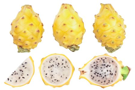 Dragon fruit, Pitaya or Pitahaya yellow isolated on white background. Top view. Flat lay. Set or collection, Reklamní fotografie - 137800008