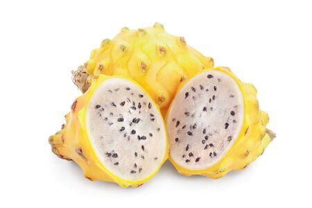 Ripe Dragon fruit, Pitaya or Pitahaya yellow isolated on white background, fruit healthy concept.