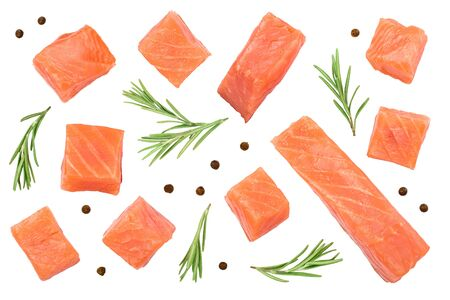Slice of red fish salmon with rosemary isolated on white background. Top view. Flat lay, Reklamní fotografie