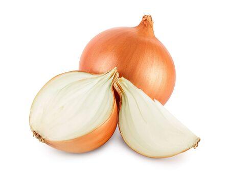 yellow onion isolated on white background close up Stockfoto