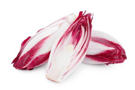 red chicory or radicchio isolated on white background.