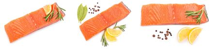 fillet of red fish salmon with lemon and rosemary isolated on white background. Top view. Flat lay. Set or collection.