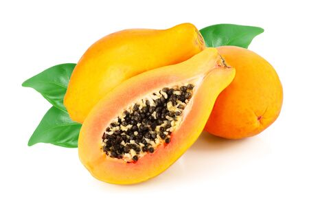 ripe cut papaya isolated on a white background. Archivio Fotografico