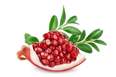 Pomegranate piece with leaf isolated on white background