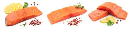 fillet of red fish salmon with lemon and rosemary isolated on white background. Set or collection