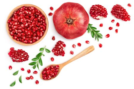 Pomegranate isolated on white background . Top view with copy space for your text. Flat lay