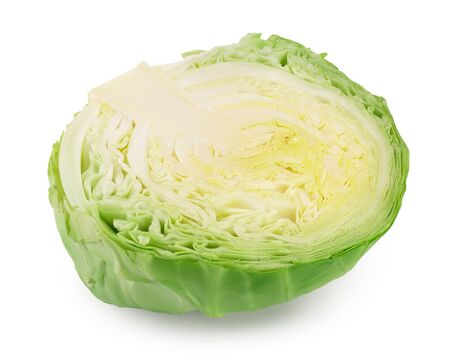 Green cabbage half isolated on white background Imagens