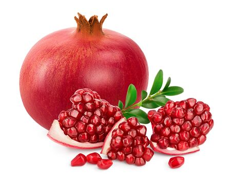 Pomegranate isolated on white background with clipping path and full depth of field. Archivio Fotografico