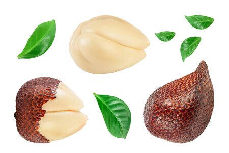 Salak snake fruit isolated on white background with clipping path and full depth of field. Top view. Flat lay. Archivio Fotografico