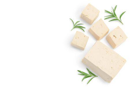 tofu cheese isolated on white background. Flat lay