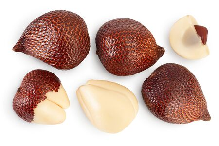 Salak snake fruit isolated on white background with clipping path and full depth of field. Top view. Flat lay.