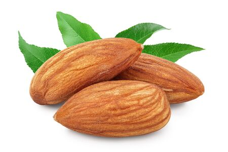 Almonds nuts with leaf isolated on white background