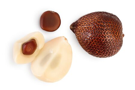 Salak snake fruit isolated on white background. Top view. Flat lay.