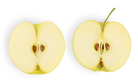 yellow apple half isolated on white background Banque d'images