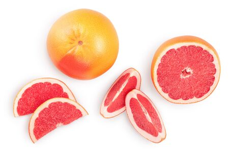 Grapefruit and slices isolated on white background. Top view. Flat lay.