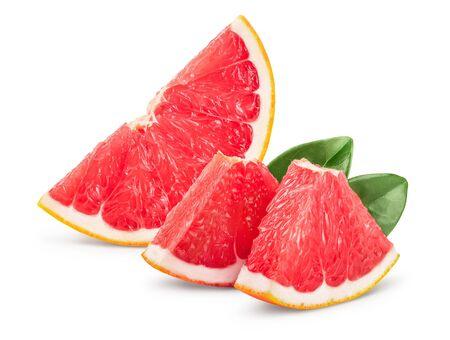Grapefruit slice isolated on white background.